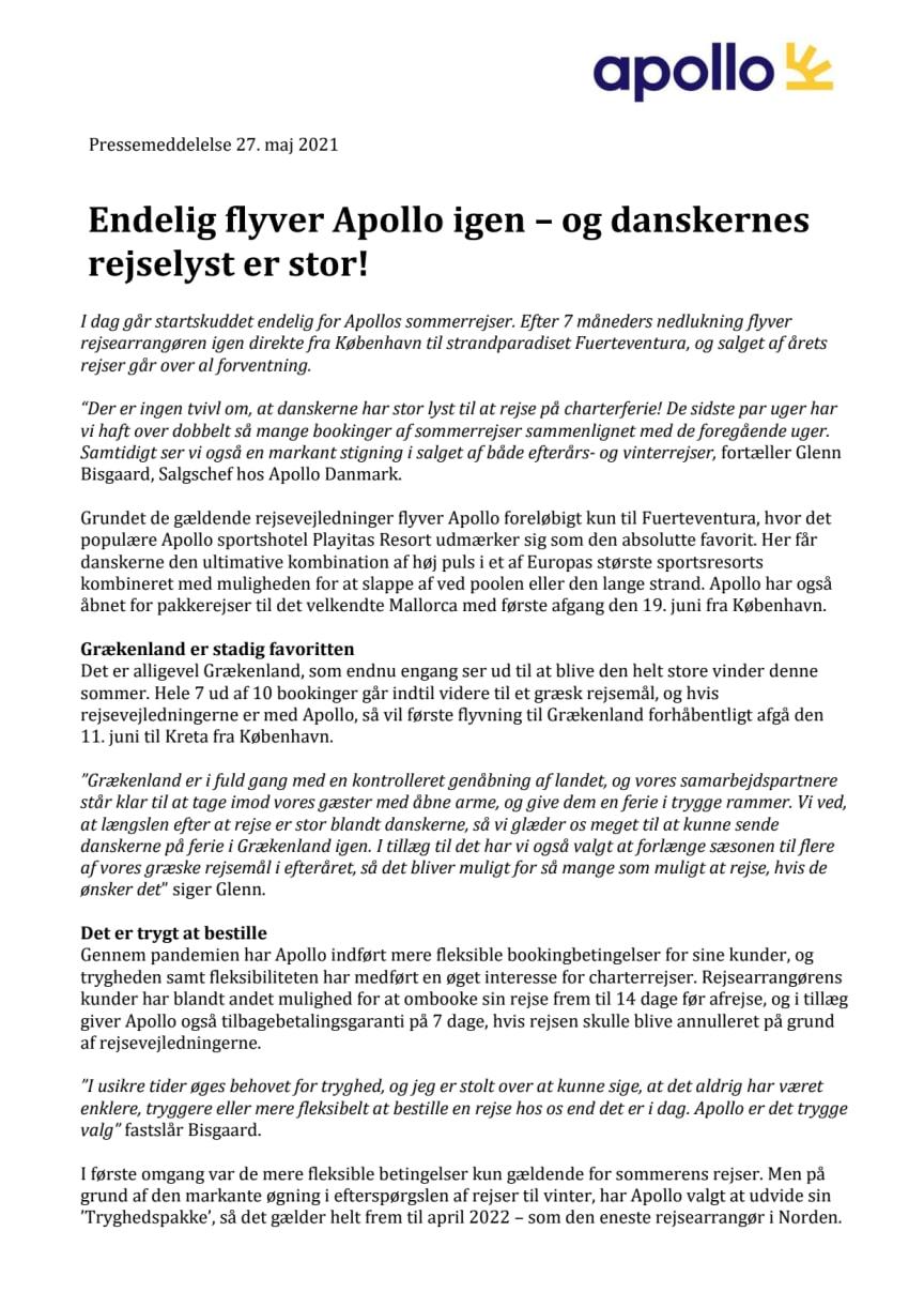 Endelig flyver Apollo igen – og danskernes rejselyst er stor!