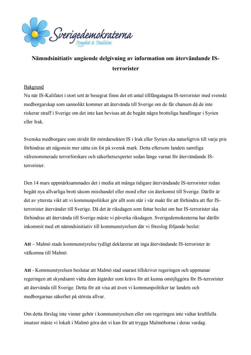 Återvändande IS-terrorister är inte välkomna i Malmö