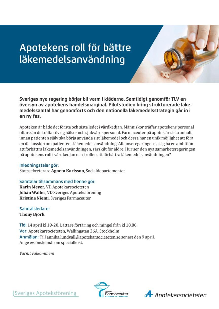 Pressinbjudan: Välkommen till Apotekens roll för bättre läkemedelsanvändning 14 april