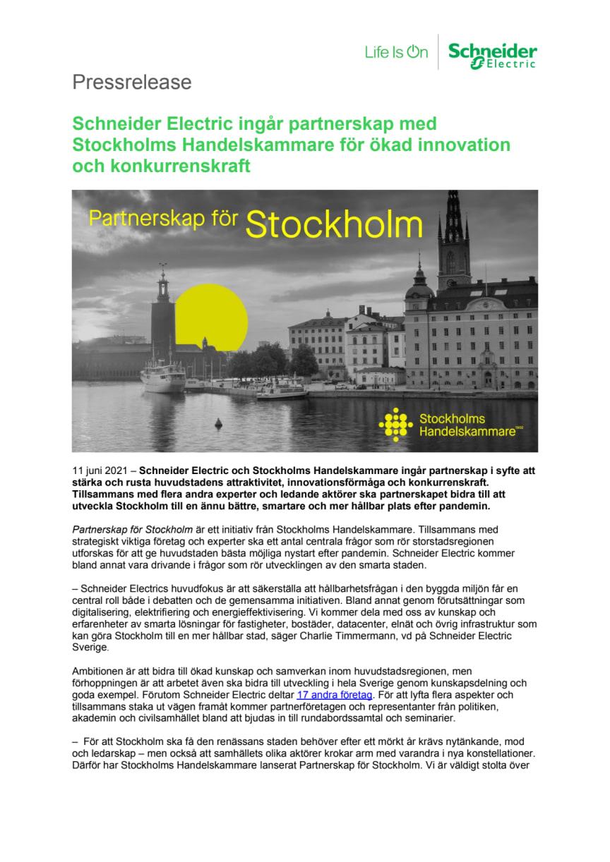 Schneider Electric ingår partnerskap med Stockholms Handelskammare för ökad innovation och konkurrenskraft