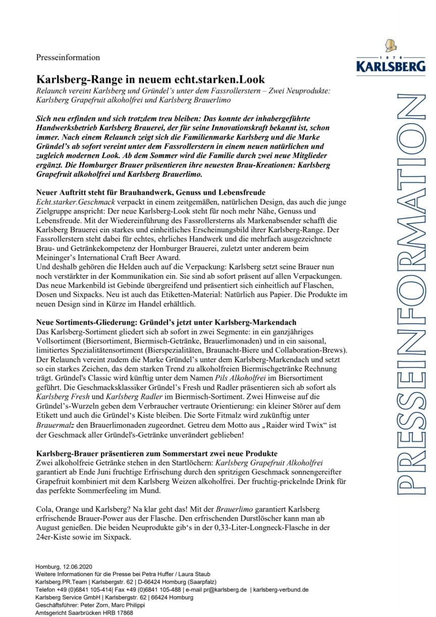 Presseinfo Karlsberg Relaunch 2020