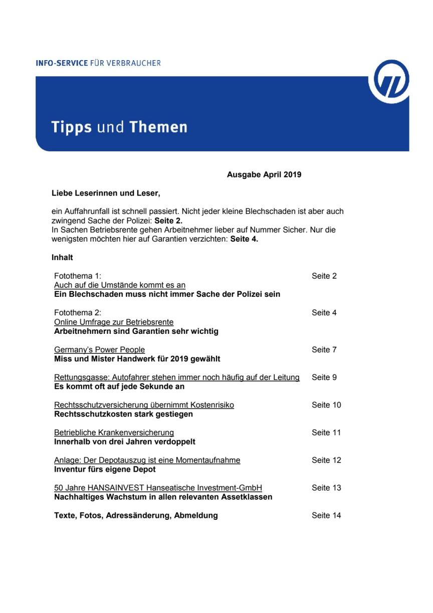 Tipps und Themen 4-2019