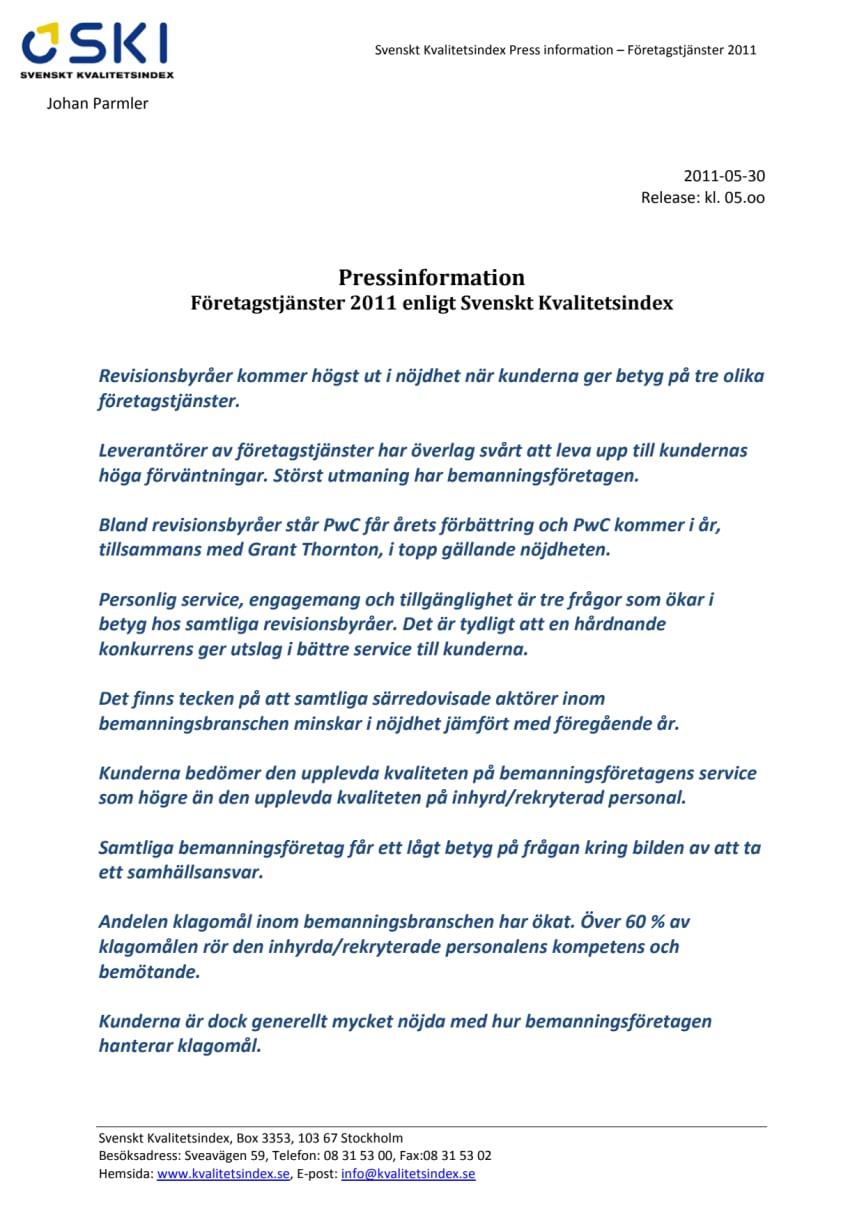 Företagstjänster 2011 enligt Svenskt Kvalitetsindex