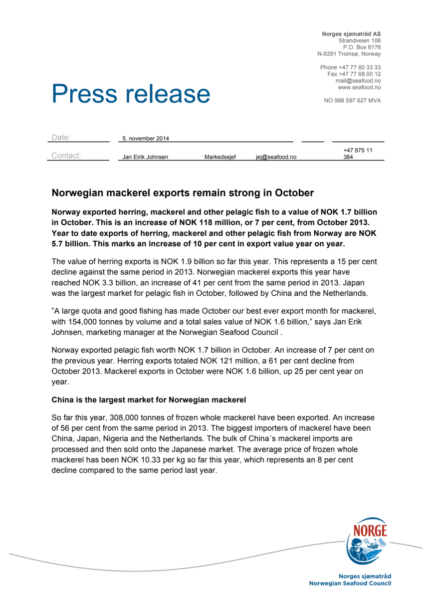 Norwegian mackerel exports historic strong in October