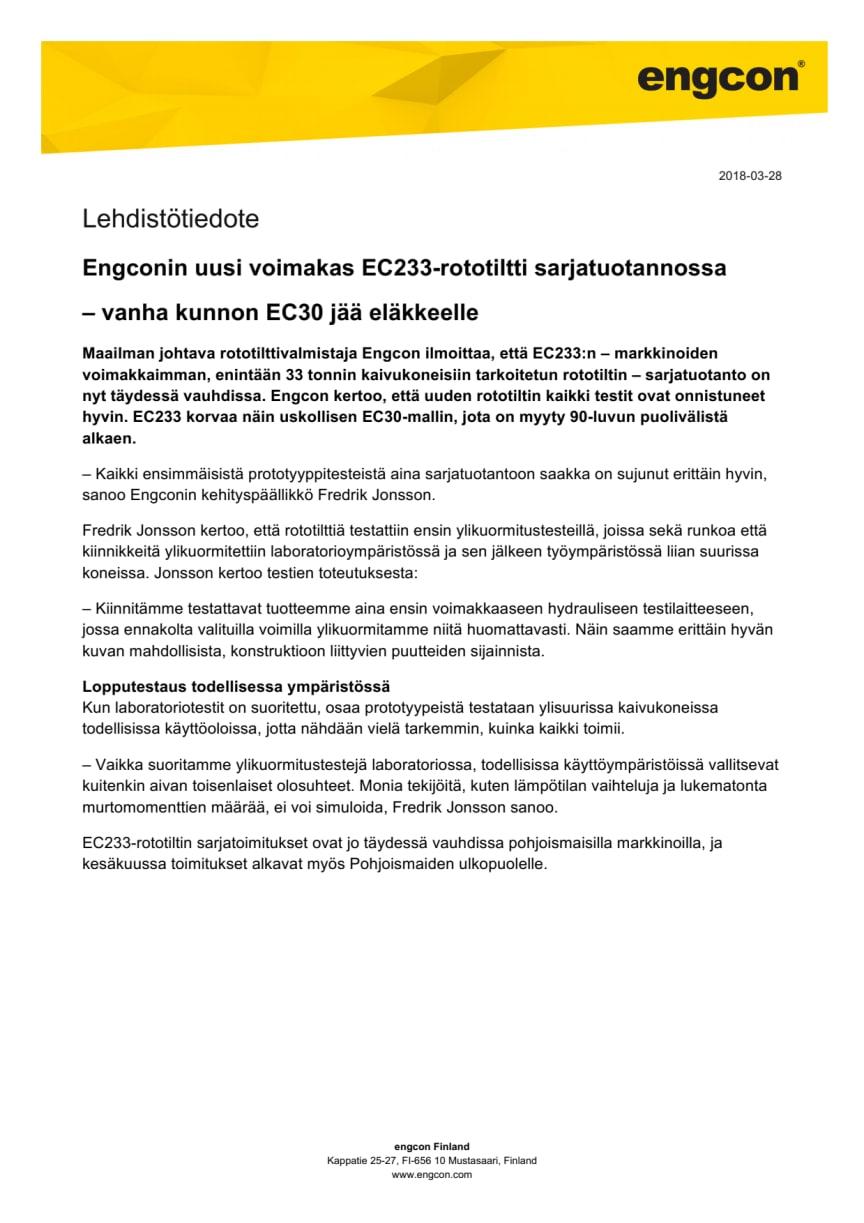 Engconin uusi voimakas EC233-rototiltti sarjatuotannossa  – vanha kunnon EC30 jää eläkkeelle