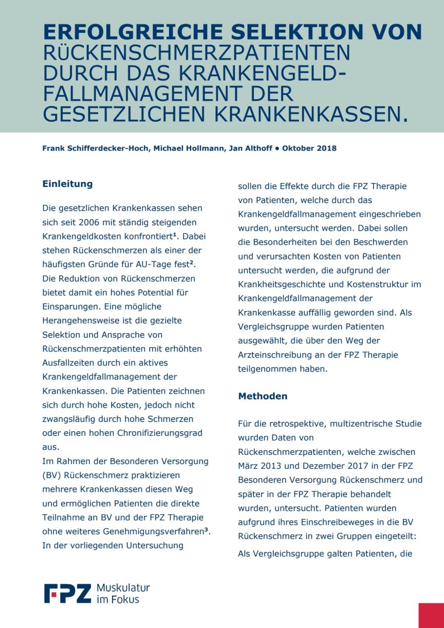 """Handout zur Studie """"Erfolgreiche Selektion von Rückenschmerzpatienten durch das Krankengeld-Fallmanagement der gesetzlichen Krankenkassen"""""""""""