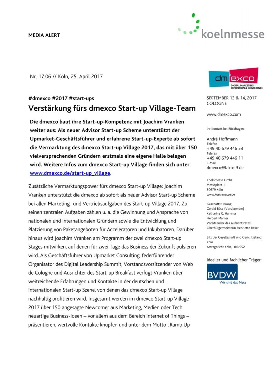 Verstärkung fürs dmexco Start-up Village-Team