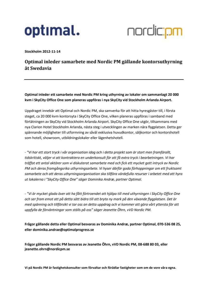 Optimal inleder samarbete med Nordic PM gällande kontorsuthyrning åt Swedavia