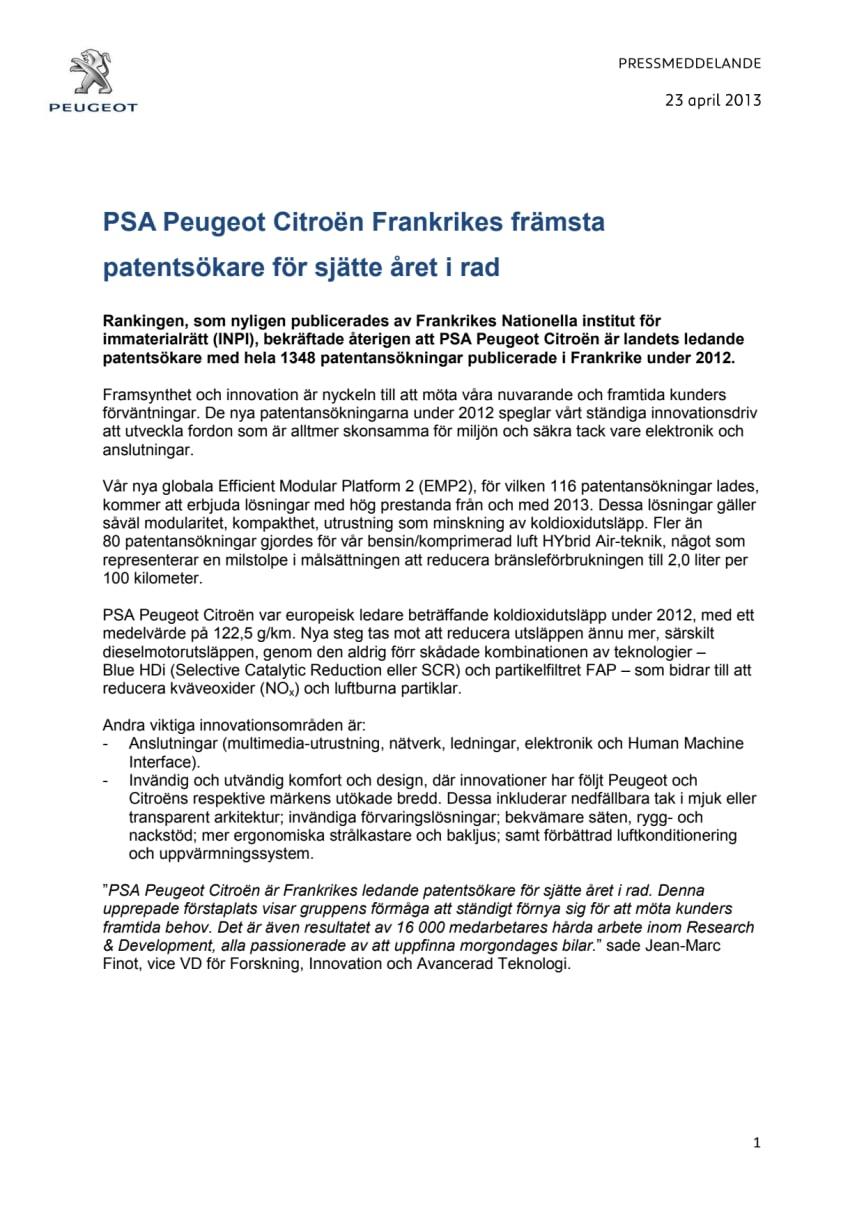 PSA Peugeot Citroën Frankrikes främsta patentsökare för sjätte året i rad