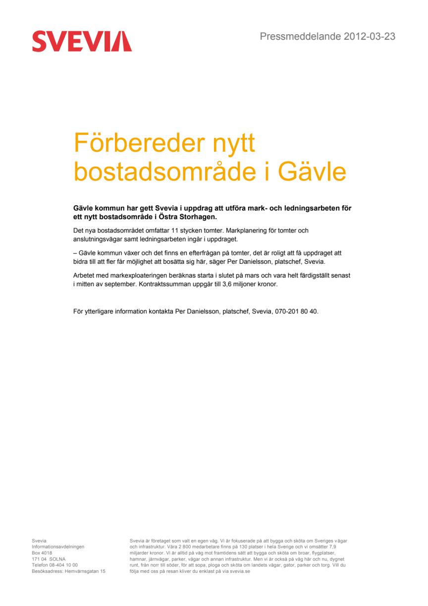 Förbereder nytt bostadsområde i Gävle