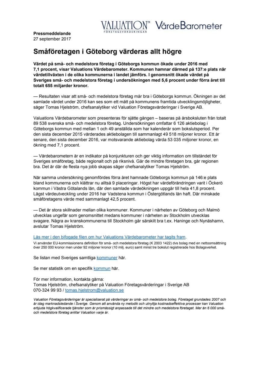 Värdebarometern 2017 Göteborgs kommun