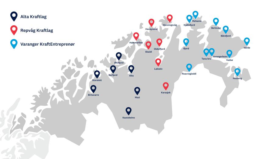Områdeutbygging av hurtigladere Troms og Finnmark - med stedsnavn