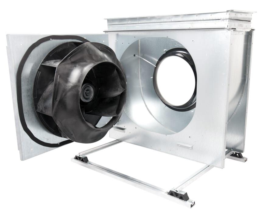 ebm-papst fläkthjul RadiCal och motor monterad på öppningsbar lucka