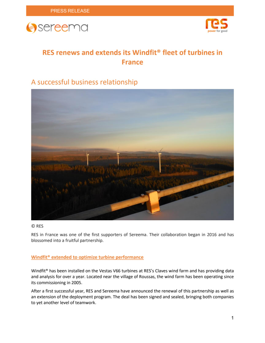 RES renews and extends its Windfit® fleet of turbines in France
