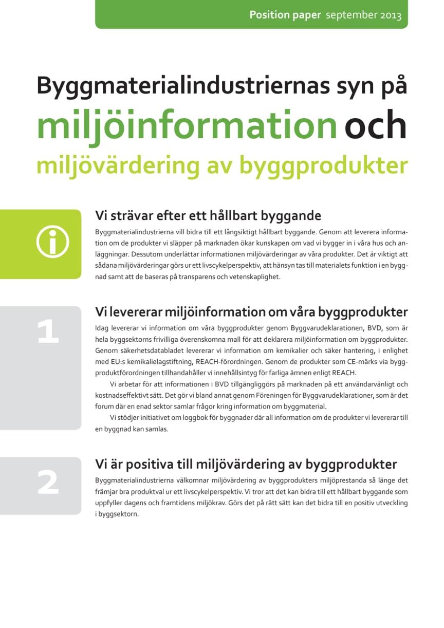 Byggmaterialindustriernas position paper om miljövärdering av byggprodukter