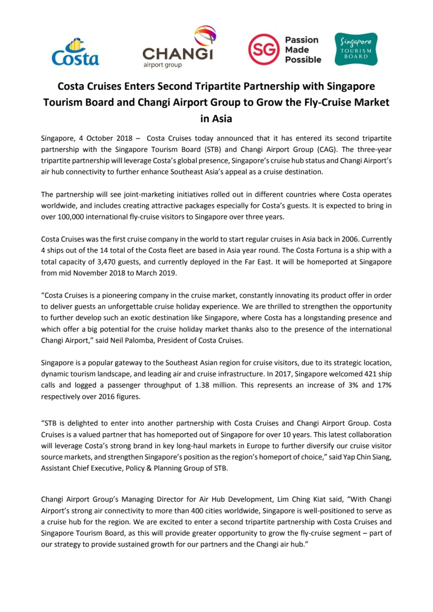 Costa Cruises Enters Second Tripartite Partnership with Singapore Tourism Board and Changi Airport Group to Grow the Fly-Cruise Market in Asia