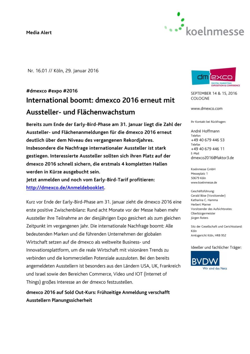 International boomt: dmexco 2016 erneut mit Aussteller- und Flächenwachstum