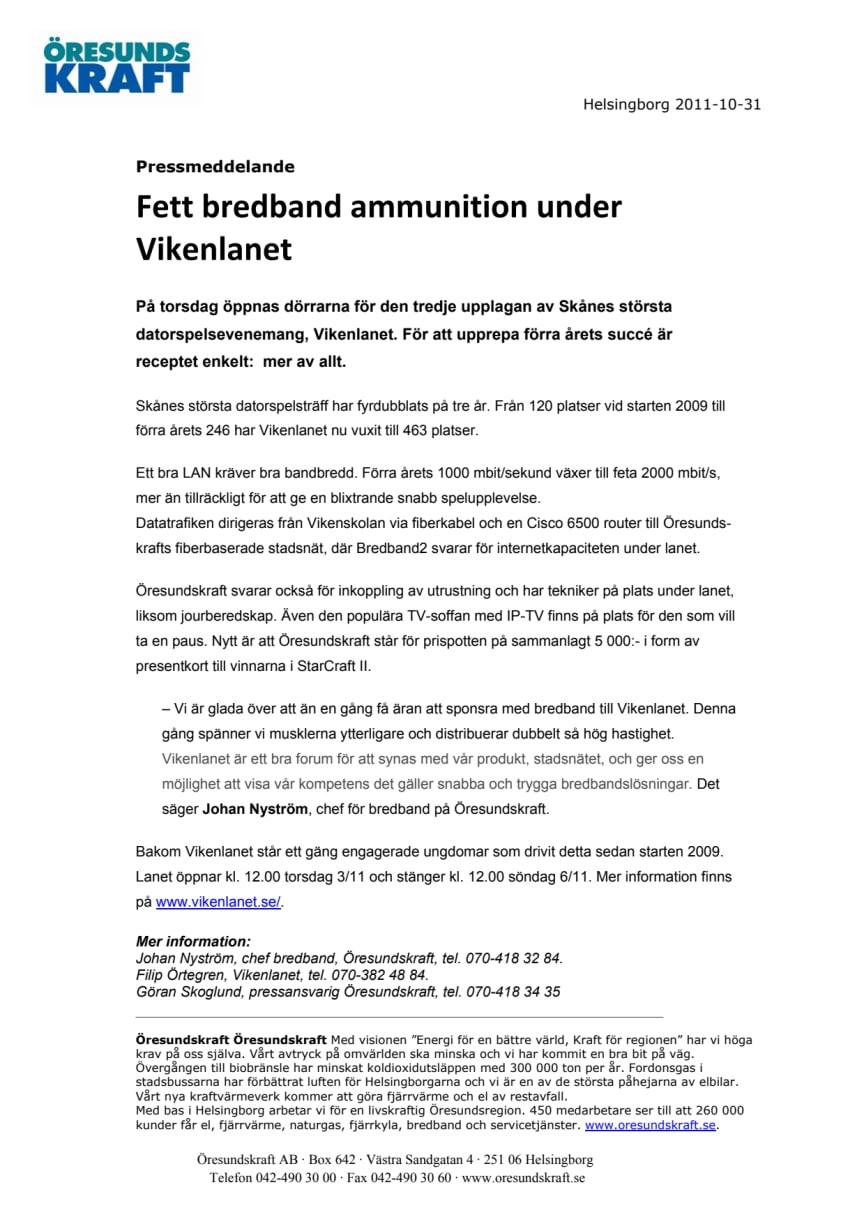 Fett bredband ammunition under Vikenlanet