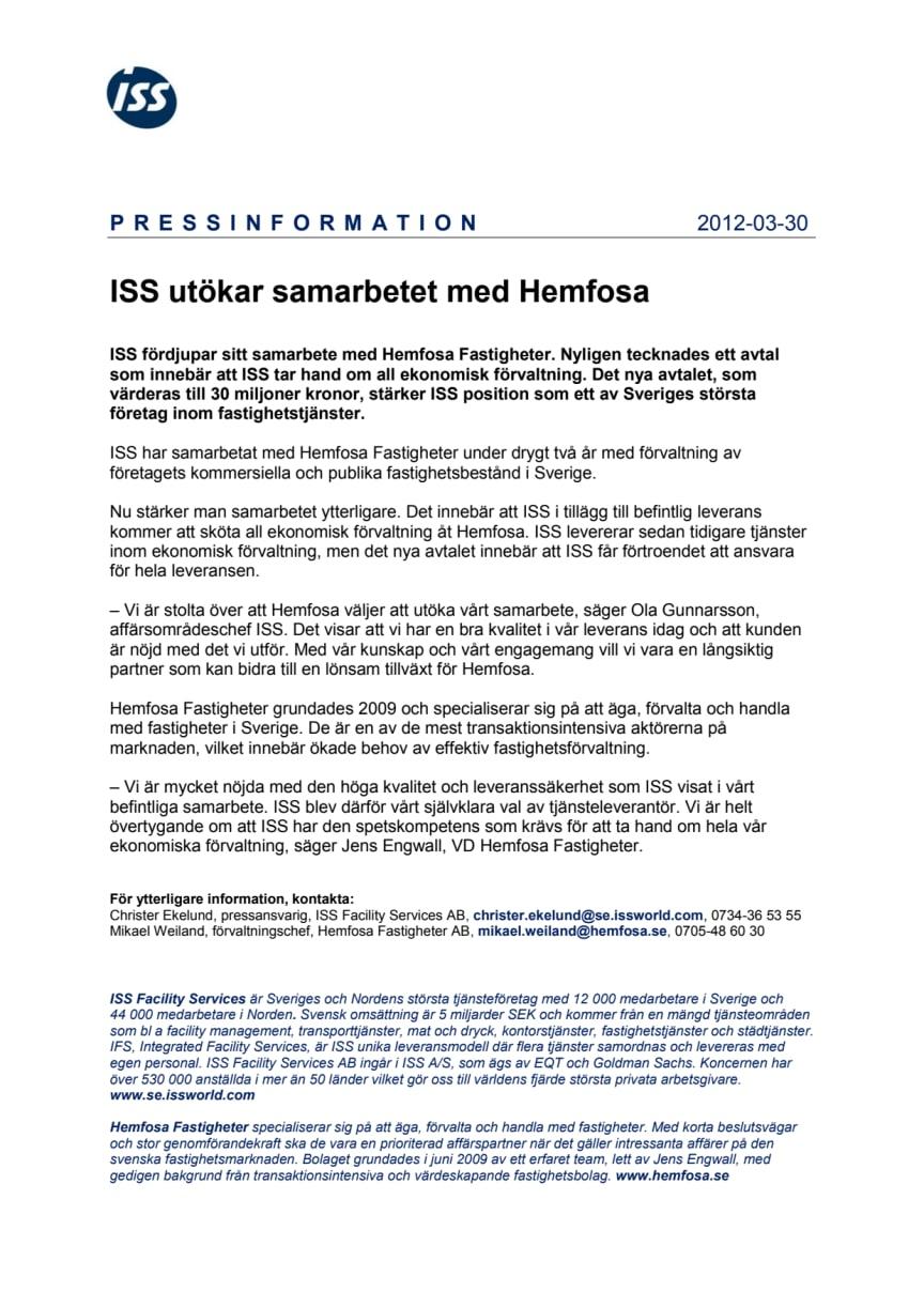 ISS utökar samarbetet med Hemfosa