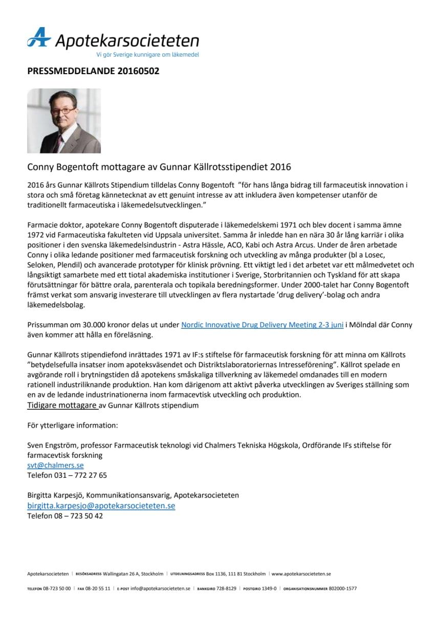 Conny Bogentoft mottagare av Gunnar Källrotsstipendiet 2016