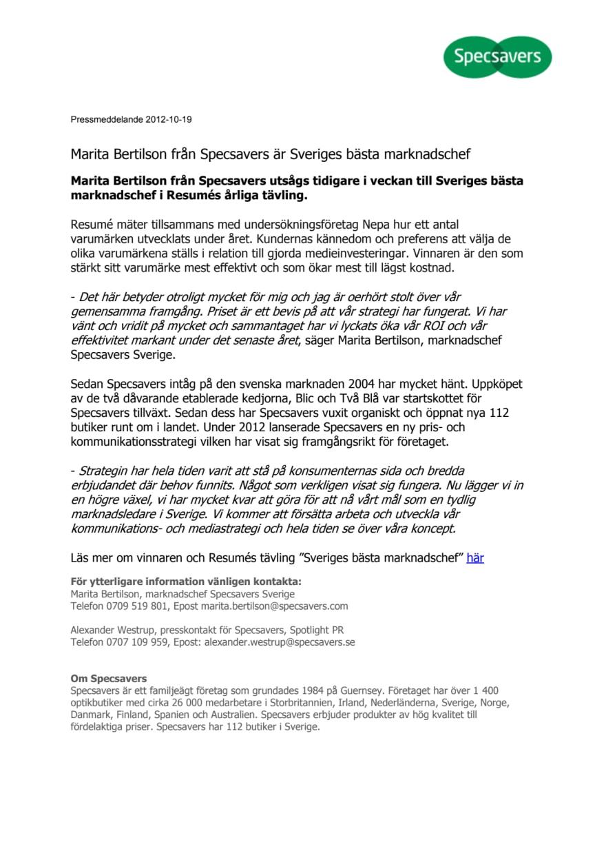 Marita Bertilson från Specsavers är Sveriges bästa marknadschef