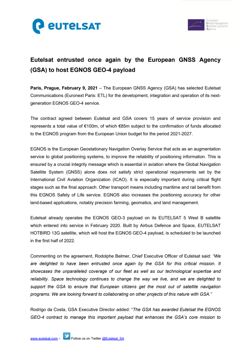 Eutelsat entrusted once again by the European GNSS Agency (GSA) to host EGNOS GEO-4 payload