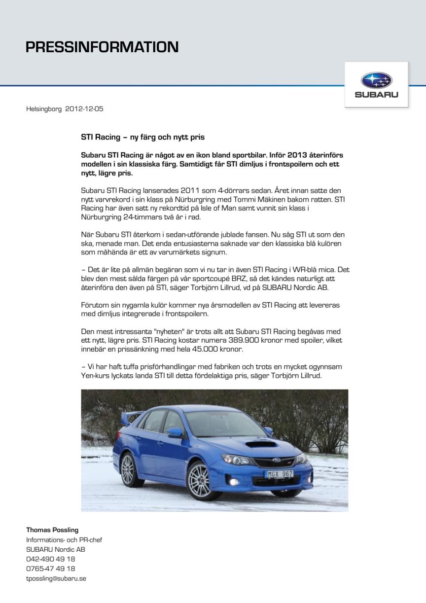 STI Racing – ny färg och nytt pris