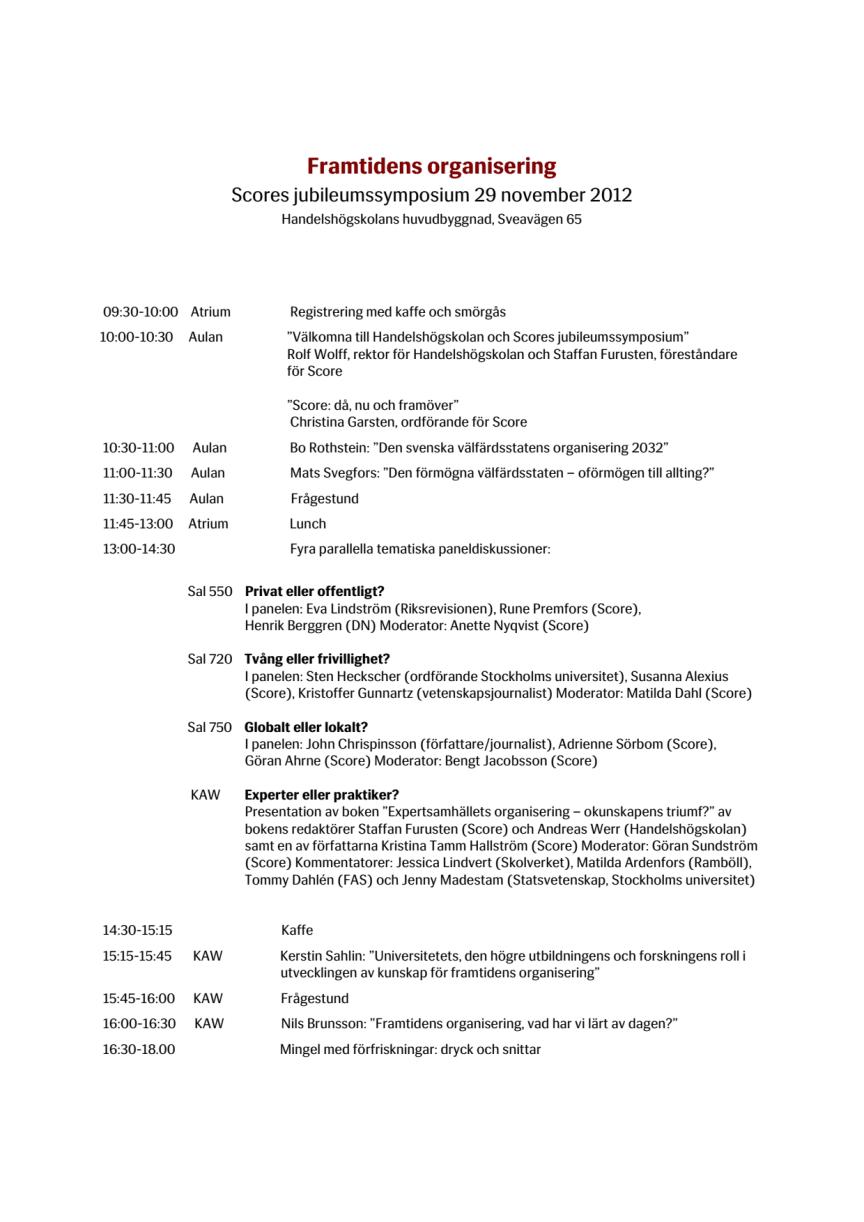 Framtidens organisering - heldagssymposium med SCORE