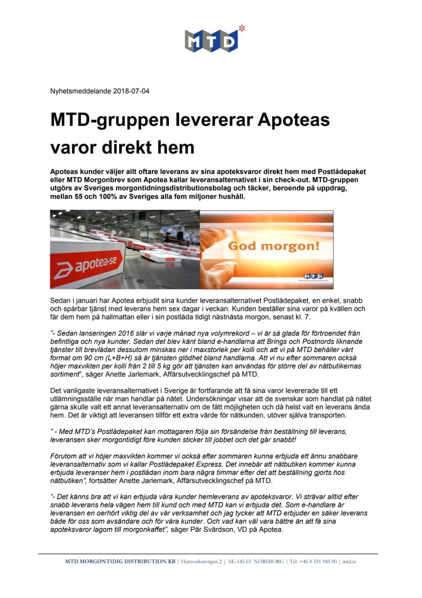 MTD-gruppen levererar Apoteas varor direkt hem