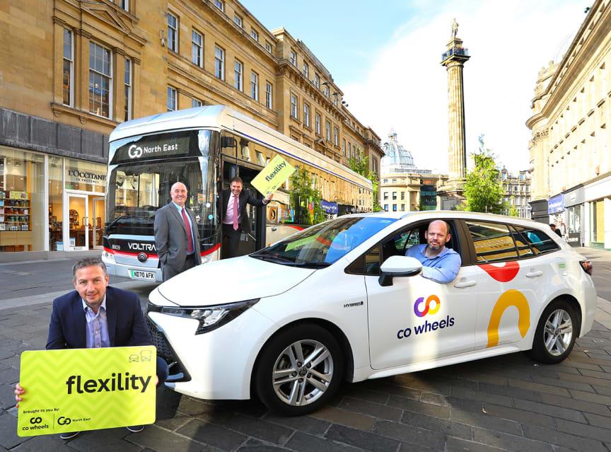 (L-R) Richard Falconer, managing director of Co-Wheels; Cllr Ged Bell; Martijn Gilbert, managing director of Go North East; Jamie Driscoll, North of Tyne Mayor.jpg
