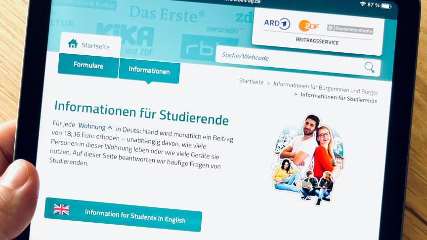 Landingpage Studierende
