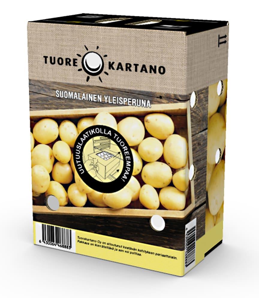Uusi innovatiivinen ja kierrätettävä pakkausratkaisu perunalle