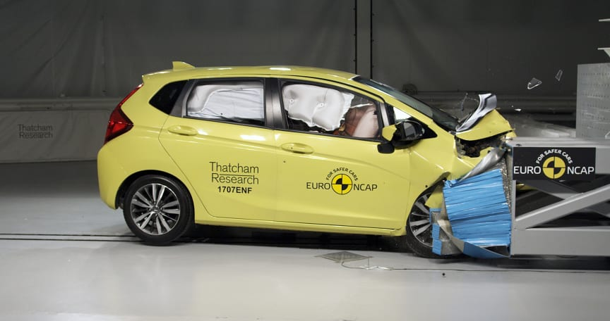 Euro NCAP 20th - the current Honda Jazz during a 40mph frontal offset test in the Thatcham Research Crash Lab