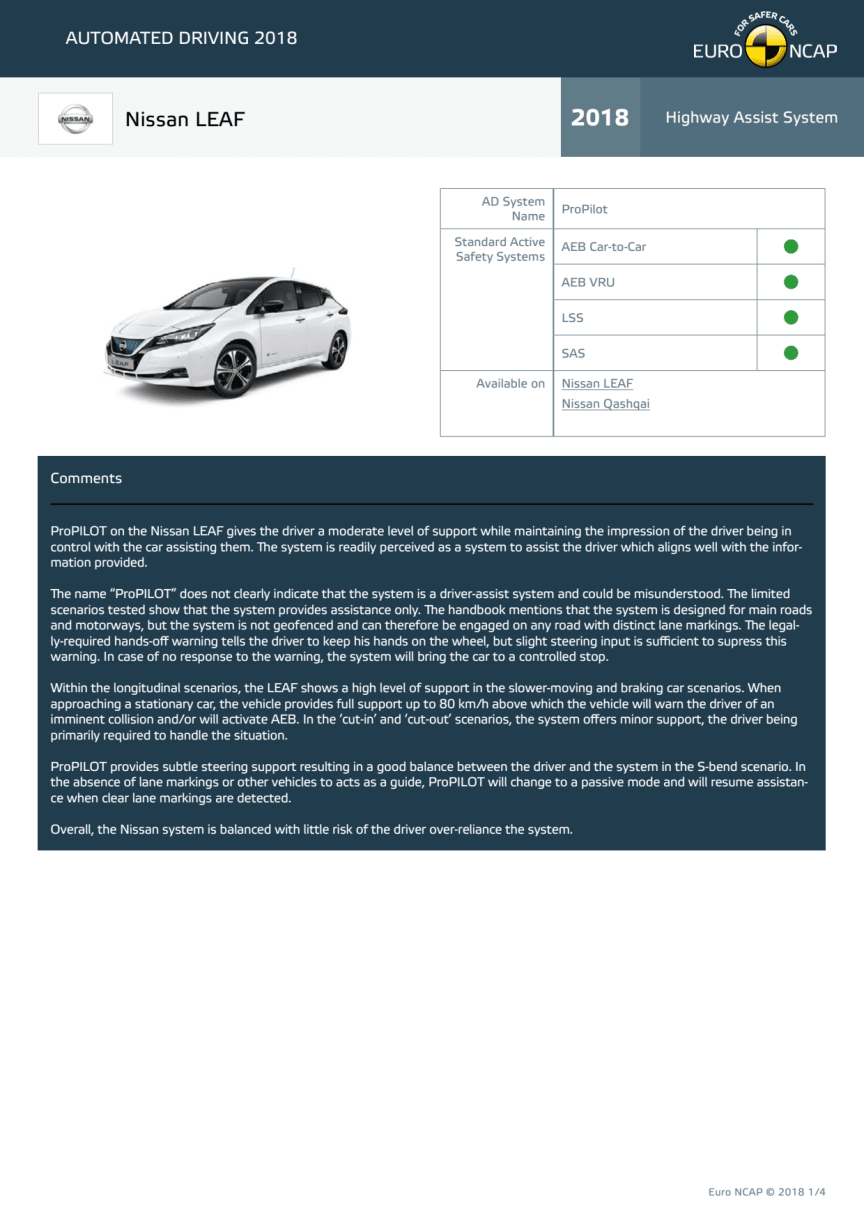 Automated Driving 2018 - Nissan LEAF datasheet - October 2018