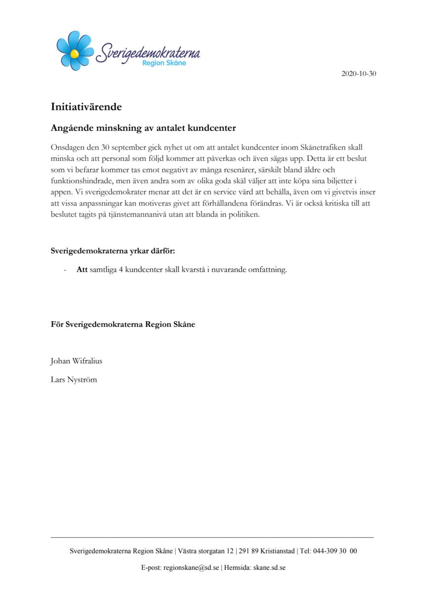Initiativärende KTN - kundcenter