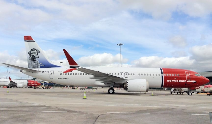 Norwegian's Tom Crean tail fin 737 MAX at Dublin Airport