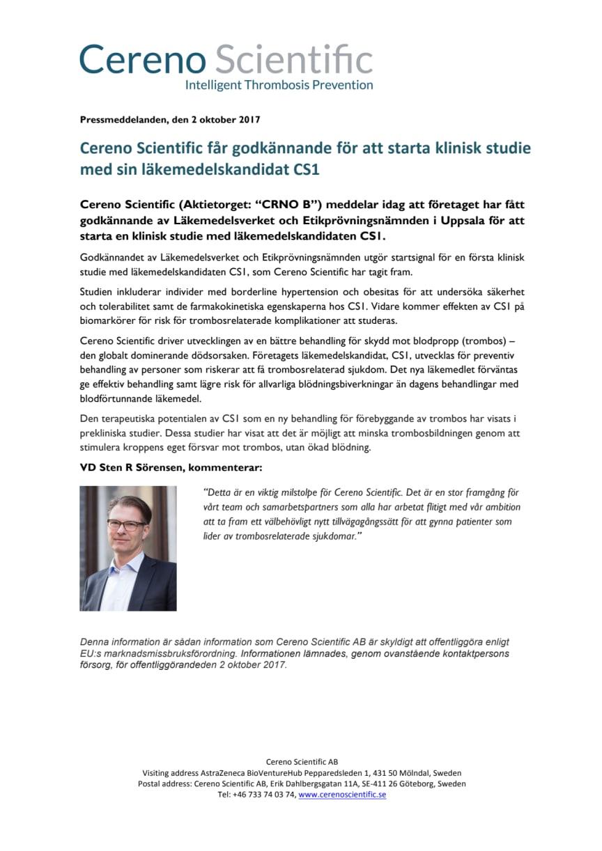 Cereno Scientific får godkännande för att starta klinisk studie med sin läkemedelskandidat CS1
