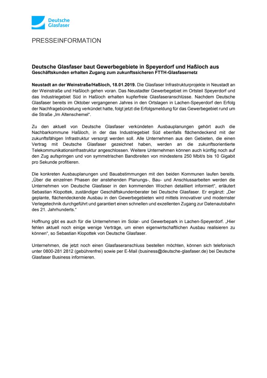 Deutsche Glasfaser baut Gewerbegebiete in Speyerdorf und Haßloch aus