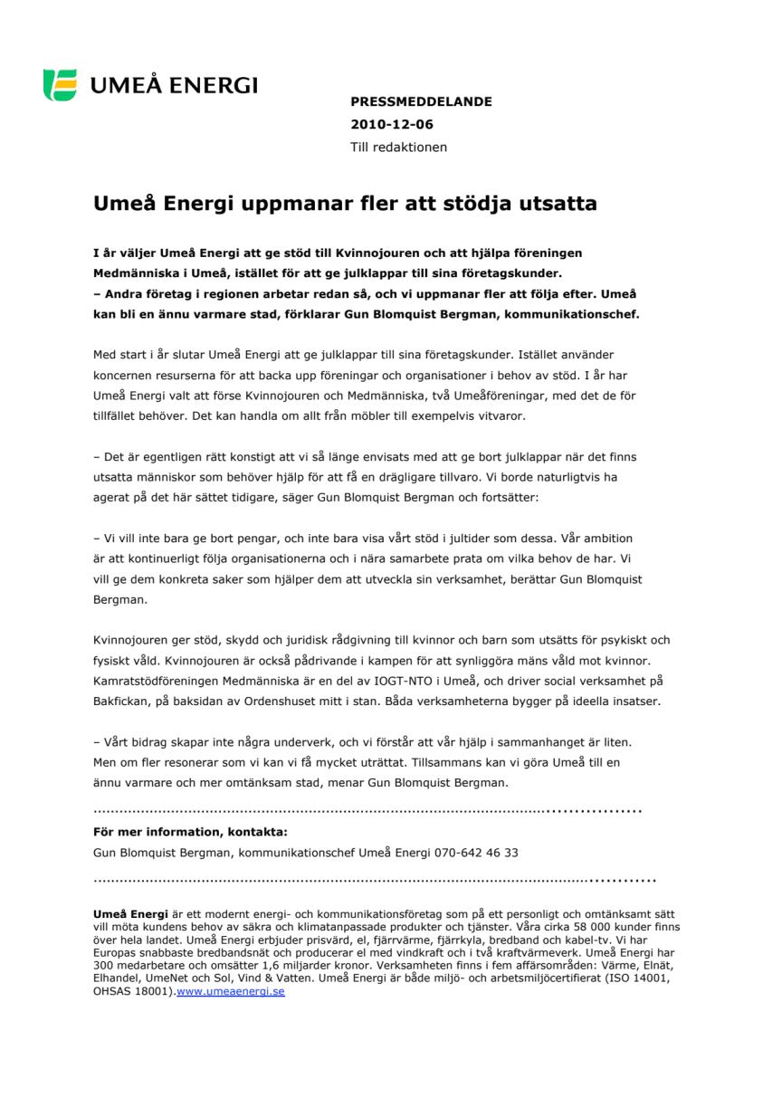 Umeå Energi uppmanar fler att stödja utsatta