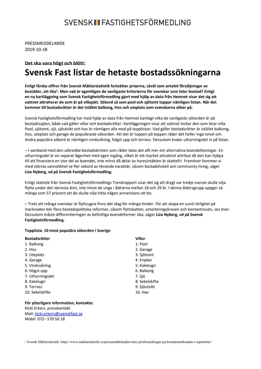 Det ska vara högt och blött: Svensk Fast listar de hetaste bostadssökningarna