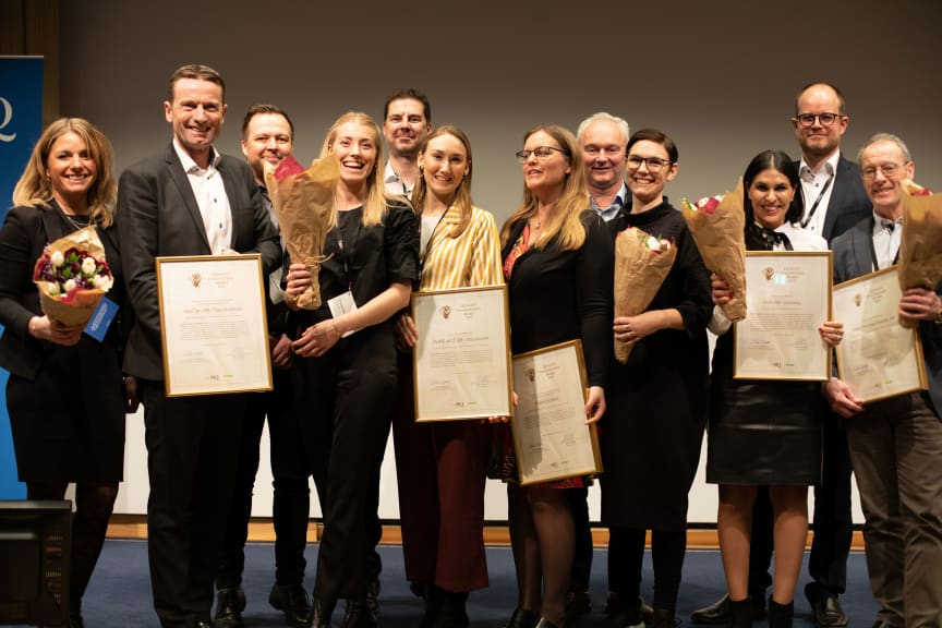 De fem stolta vinnarna av Quality Innovation Award 2019