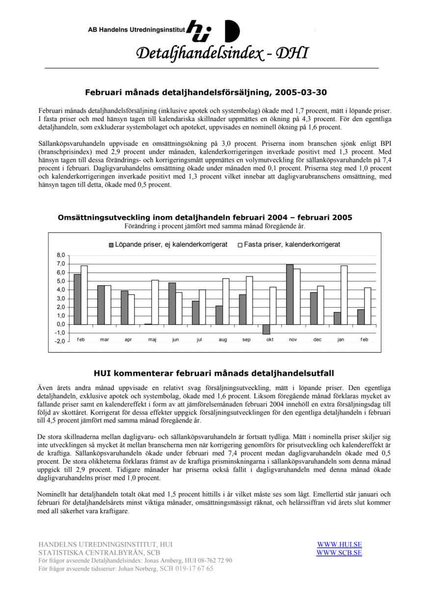 Februari månads detaljhandelsförsäljning, 2005-03-30