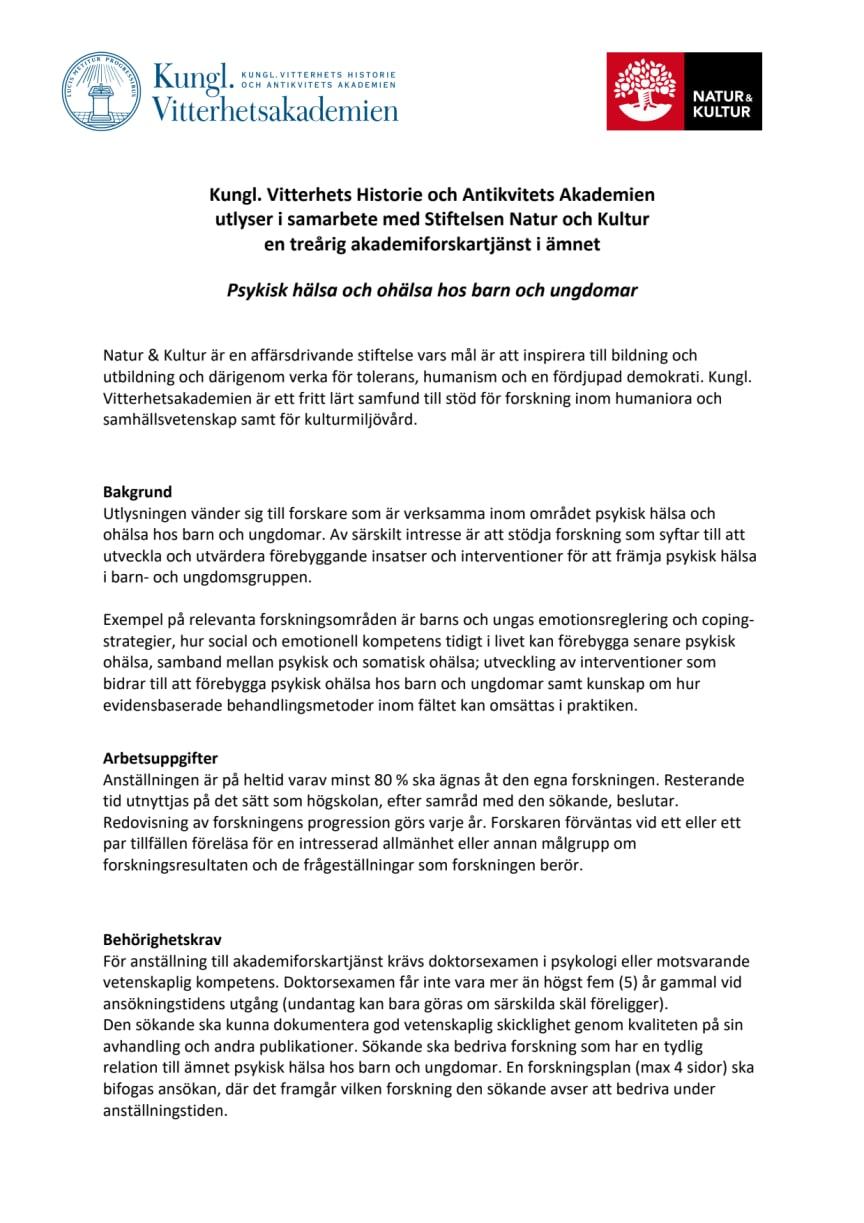 Utlysning akademiforskartjänst inriktning Psykisk hälsa och ohälsa hos barn och ungdomar