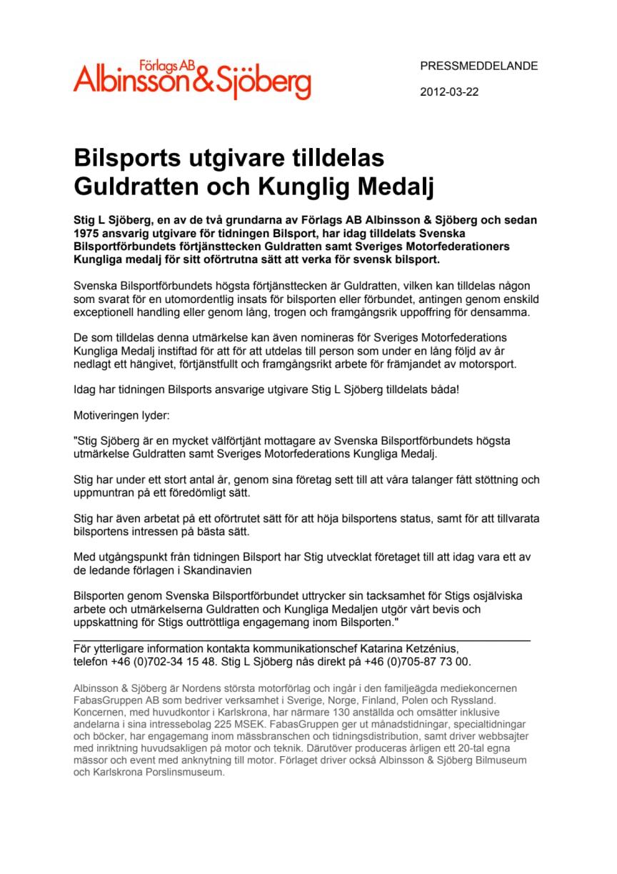 Bilsports utgivare tilldelas Guldratten och Kunglig Medalj