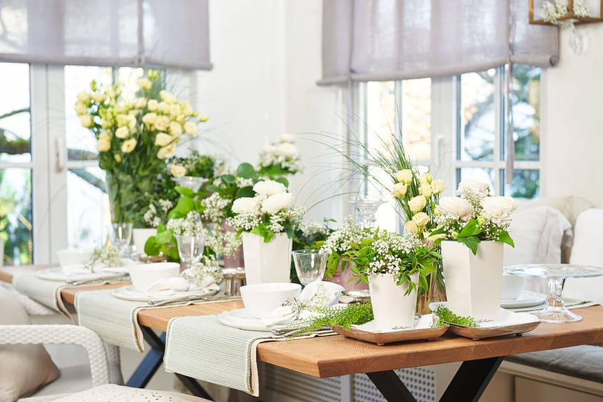 Individuelle Tischdekorationen mit LECHUZA-Pflanzgefäßen
