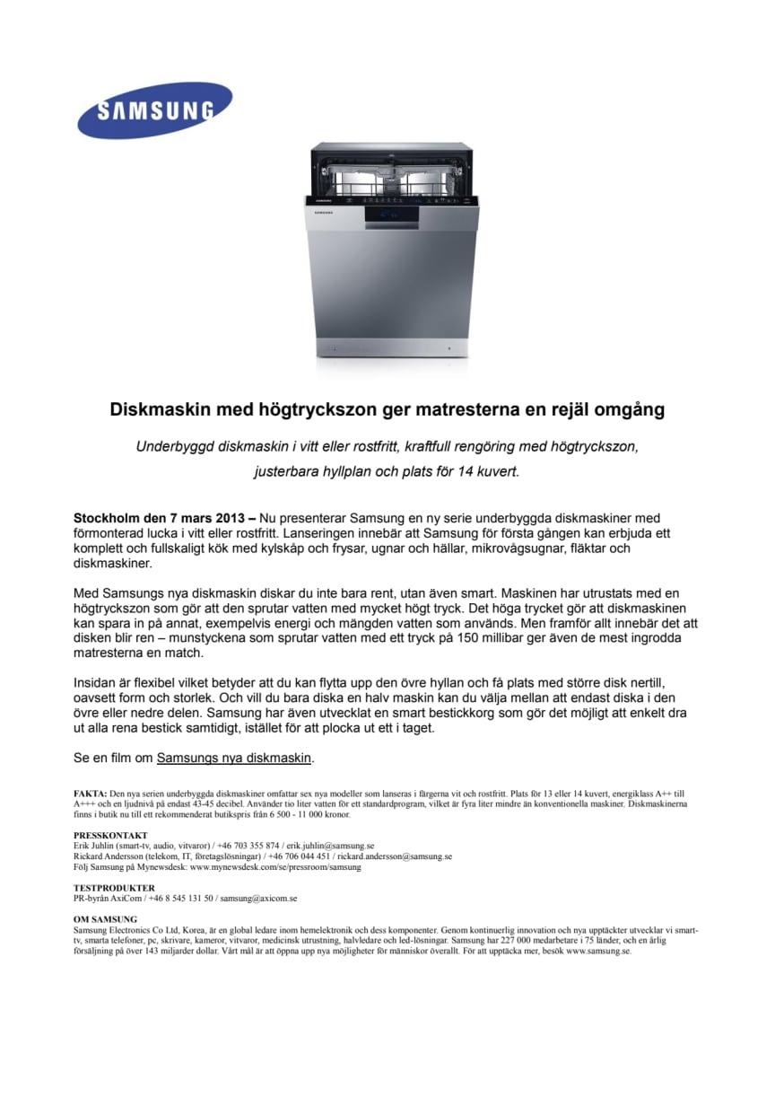 Smart diskmaskin med högtryckszon ger matresterna en rejäl omgång