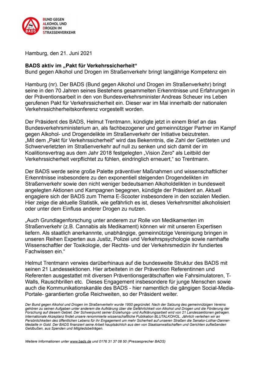 """BADS aktiv im """"Pakt für Verkehrssicherheit"""""""
