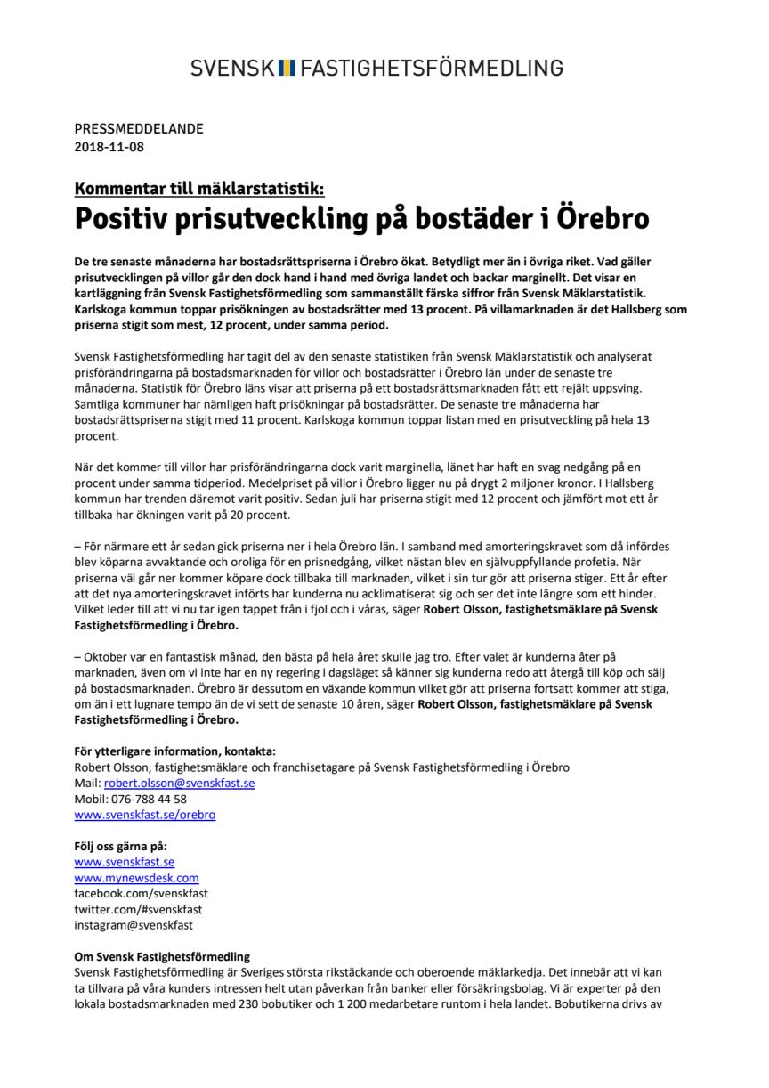 Kommentar till mäklarstatistik: Positiv prisutveckling på bostäder i Örebro