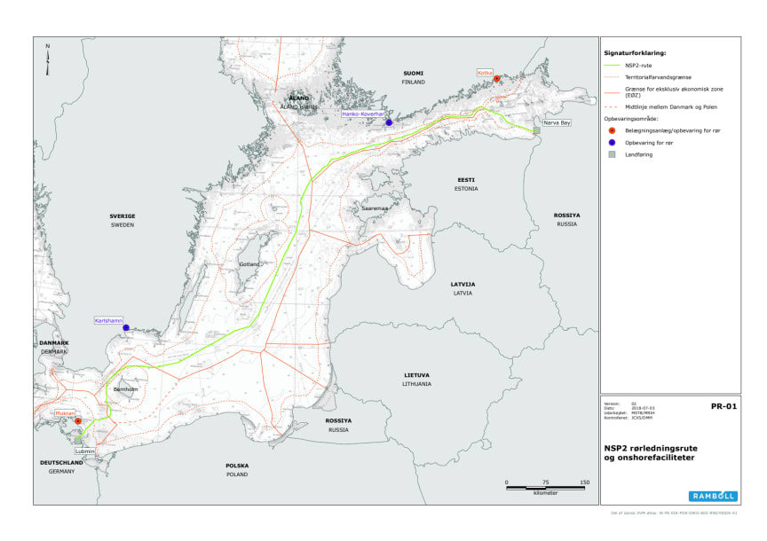 Nord Stream 2 kort alternativ rute - Total