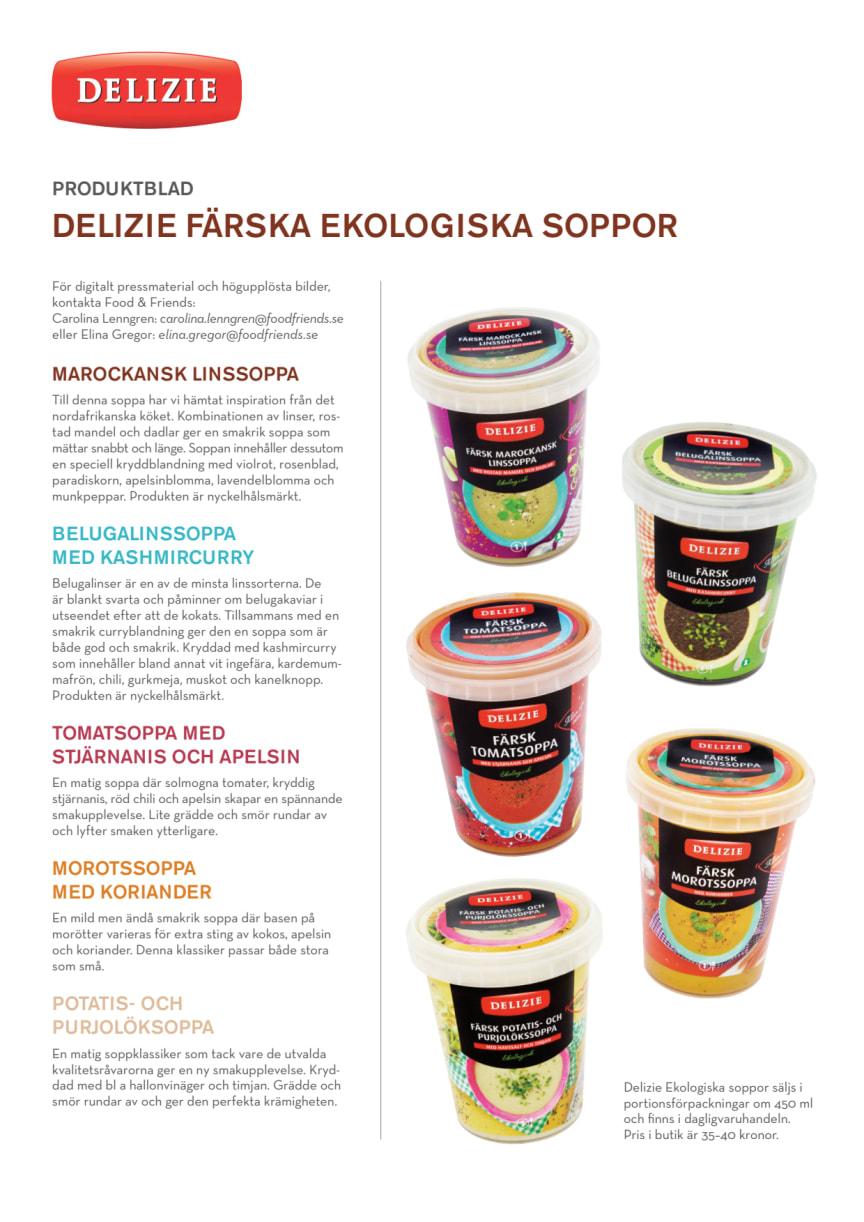 Färska, ekologiska soppor från Delizie - produktblad